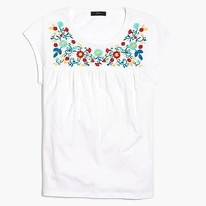 J Crew -Embroidered Cap-Sleeve Floral Top